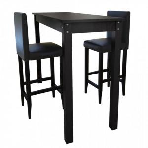 Masa bar cu 2 scaune Negru - V160727V