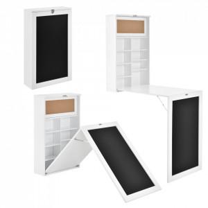 Masa birou Flavia,156 x 50 x 91,5 cm, MDF, alb, rabatabila, cu tabla integrata pentru scris si compartimente depozitare, economie spatiu - P65373528