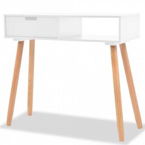Masa consola, lemn masiv de pin 80x30x72 cm, alb - V244737V