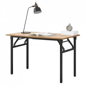 Masa cu picioare pliabile AATF-7703, 120 x 60 x 75-76,4 cm, PAL melaminat/metal sinterizat,lemn fag/negru, inaltime reglabila - P57591464