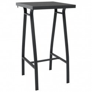 Masa de bar gradina, negru, 60 x 60 x 110 cm, sticla securizata - V48120V