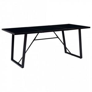 Masa de bucatarie, negru, 200 x 100 x 75 cm, sticla securizata - V281559V