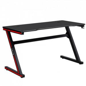 Masă de joc / masă pentru computer, neagră / roşie, MACKENZIE 140cm