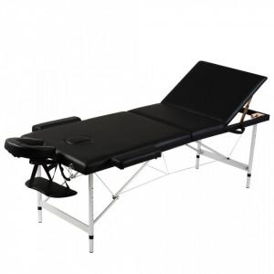 Masa de masaj pliabila 3 parti cadru din aluminiu Negru - V110092V