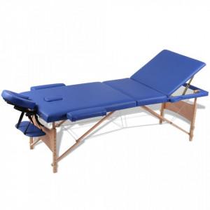 Masa de masaj pliabila 3 parti cadru din lemn Albastru - V110079V