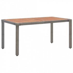 Masa gradina, gri, 150x90x75 cm, poliratan si lemn masiv acacia - V46107V
