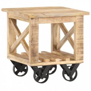 Masa laterala cu roti, 40 x 40 x 42 cm, lemn de mango nefinisat - V320936V