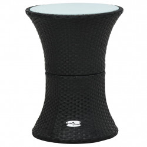 Masa laterala de gradina, forma de toba, negru, poliratan - V48150V