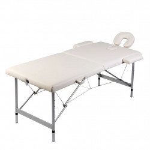 Masa masaj pliabila, 2 zone, alb crem, cadru aluminiu - V110085V