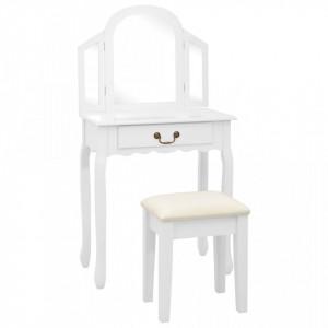 Masa toaleta cu taburet, alb, 65x36x128 cm, lemn paulownia, MDF - V289334V