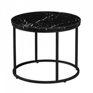 Măsuţă de cafea, marmură neagră / metal negru, GAGIN