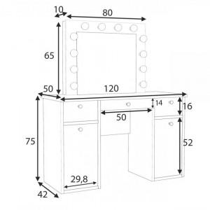 MBMT10 - Set Masa toaleta cosmetica 120 cm machiaj oglinda masuta vanity, oglinda cu LED-uri - Alb