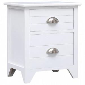 Noptiera, alb, 38 x 28 x 45 cm, lemn de paulownia - V284049V