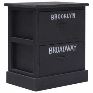 Noptiera, negru, 38 x 28 x 45 cm, lemn de paulownia - V284058V