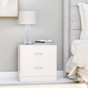 Noptiere, 2 buc., alb, 40 x 30 x 40 cm, PAL - V801036V