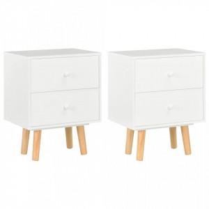 Noptiere, 2 buc., alb, 40 x 30 x 50 cm, lemn masiv de pin - V285224V