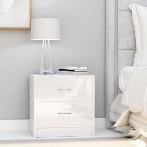 Noptiere, 2 buc., alb extralucios, 40 x 30 x 40 cm, PAL - V801048V