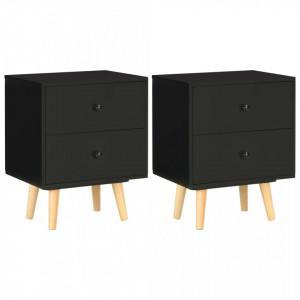 Noptiere, 2 buc., negru, 40 x 30 x 50 cm, lemn masiv de pin - V285225V