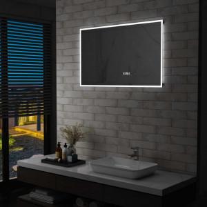 Oglinda cu LED de baie cu senzor tactil si afisaj ora 100x60 cm - V144739V