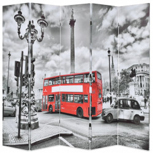 Paravan camera pliabil, 200x170 cm, autobuz londonez, negru/alb - V245875V