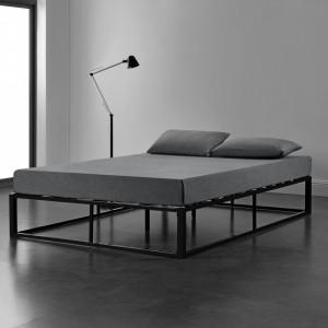 Pat Anastasia, rama metalica, 140 x 200 cm, negru, cu gratar, rezistent la uzura, fara saltea, pentru 2 persoane - P64042688