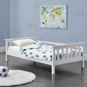 Pat copii Nuuk W160, 168 x 90 x 52 cm, lemn/furnir, alb mat lacuit - P71303272