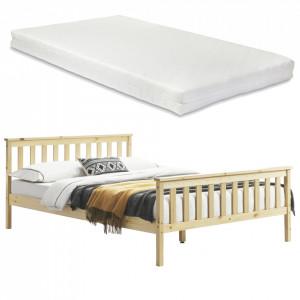 Pat lemn Opal cu saltea spuma rece, 208 x 188 x 82 cm, lemn/poliester, culoarea lemnului, pentru 2 persoane - P65537509