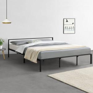 Pat rama metalica Imatra 4, 210cm x 185cm x 60cm, otel, negru mat, dublu, forma moderna minimalista - P69577783
