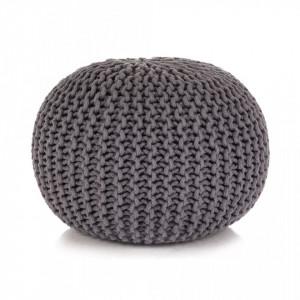 Puf tricotat manual, bumbac, 50 x 35 cm, gri - V245070V