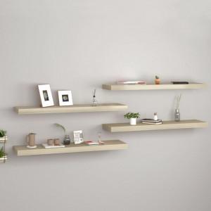 Rafturi de perete suspendate 4 buc. stejar, 90x23,5x3,8 cm, MDF - V323882V