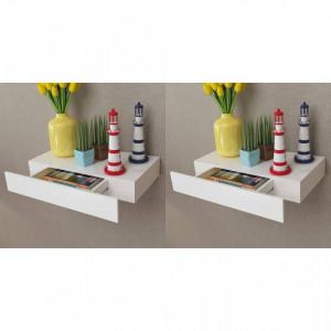 Rafturi de perete suspendate cu sertare, 2 buc., alb, 48 cm - V276001V