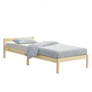 Rama pat lemn Nakkila H100, 206 x106 x 50 cm, lemn de brad, 100 Kg, culoarea lemnului natur, single, cu gratar - P72514364