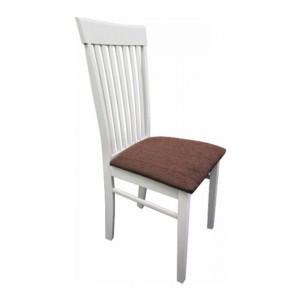 Scaun, alb/ţesătură maro, ASTRO NEW