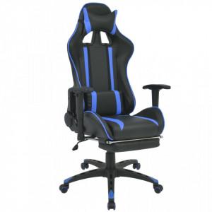 Scaun birou rabatabil, design racing, suport picioare, albastru - V20166V