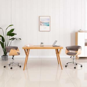 Scaun de birou pivotant, gri taupe, lemn curbat si textil - V3054835V