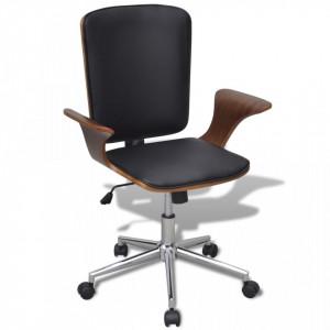 Scaun de birou reglabil din lemn curbat, piele artificiala - V241685V