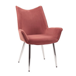 Scaun de masă, ţesătură de catifea roz / crom, MAIRIN TIP 2