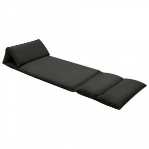 Scaun de podea pliabil, negru, microfibra - V325262V