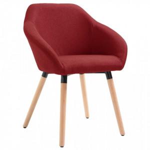 Scaun de sufragerie, rosu vin, material textil - V283457V