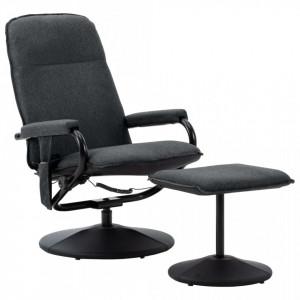 Scaun masaj rabatabil cu taburet, gri inchis, material textil - V289857V