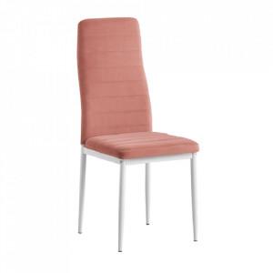 Scaun, ţesătură de catifea roz / metal alb, Coleta Nova