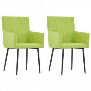 Scaune de bucatarie cu brate, 2 buc., verde, material textil - V281845V