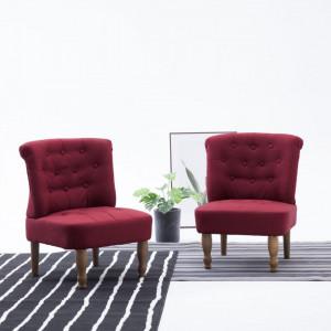 Scaune stil frantuzesc, 2 buc., rosu vin, material textil - V282137V