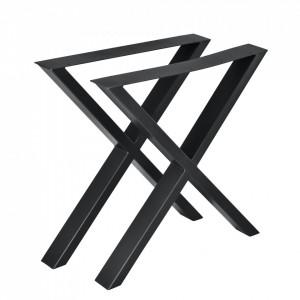 Set 2 bucati picioare masa in forma X, 69 x 72 cm, metal, negru - P57353530