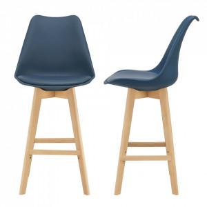 Set 2 bucati scaun bar Adela, 105 x 48 x 58 cm, plastic/imitatie piele, lemn de fag, bleu - P67291238