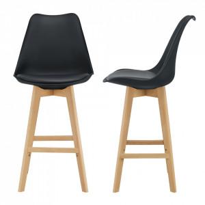Set 2 bucati scaun bar Adela, 105 x 48 x 58 cm, plastic/imitatie piele, lemn de fag, negru - P67291234