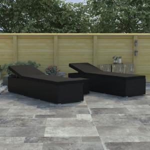 Set de sezlonguri de gradina, 3 piese, negru, poliratan - V46223V