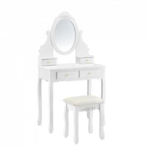 Set Delia masa de toaleta/machiaj cu oglinda si scaun, masa 75 x75 x 40 cm, scaun 45 x 37 x 28 cm, MDF, alb, cu 4 sertare pentru depozitare - P57827232