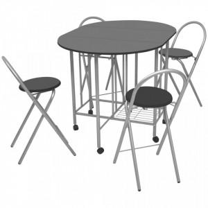 Set masa si scaune de bucatarie pliante MDF, negru, 5 piese - V243902V