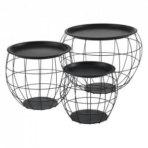 Set masute cafea 3 bucati cosuri metalice Elisa, marimi diferite, metal/MDF, negru - P65756983